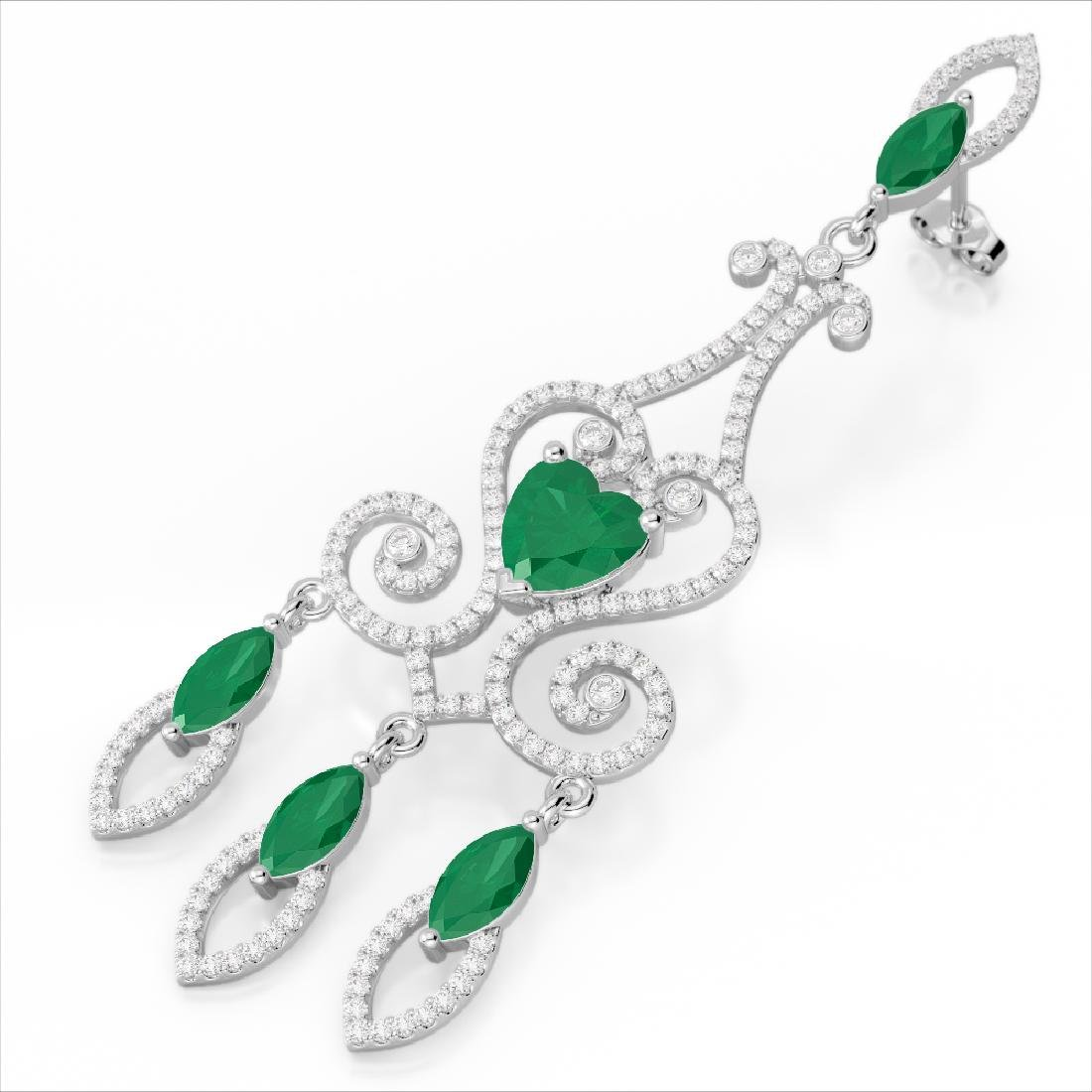 11 CTW Emerald & Micro Pave VS/SI Diamond Earrings 14K