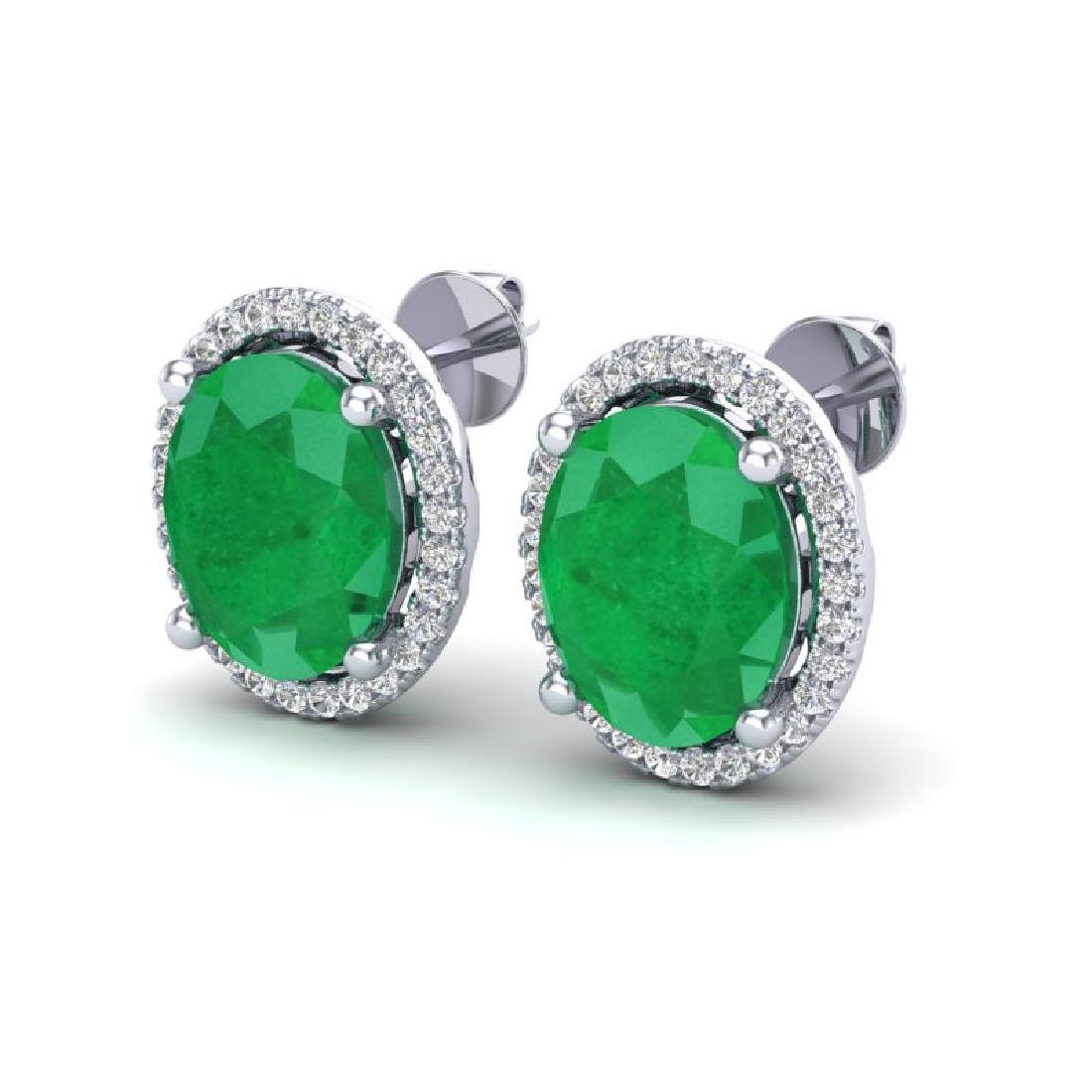 6 CTW Emerald & Micro Pave VS/SI Diamond Earrings Halo