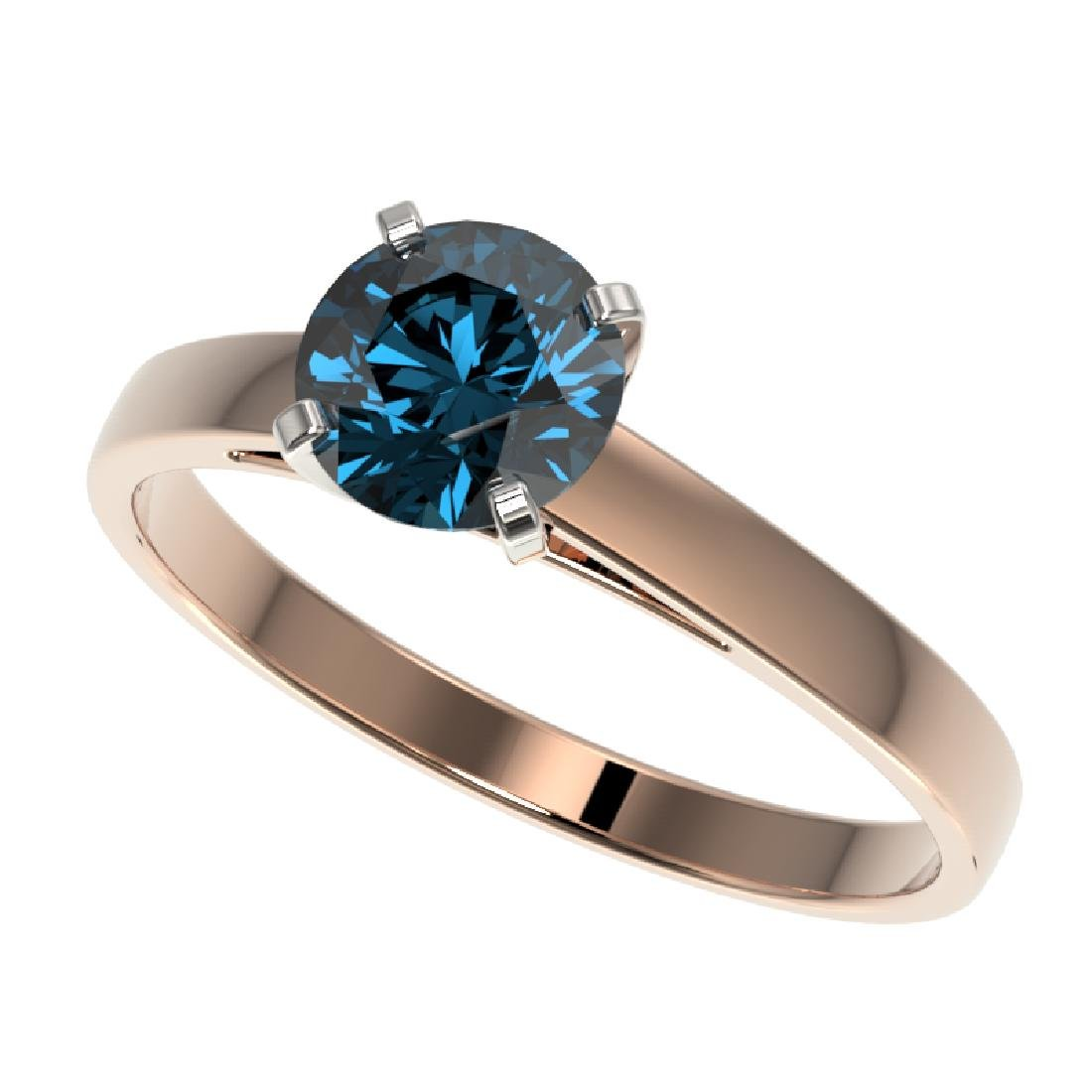 1.05 CTW Certified Intense Blue SI Diamond Solitaire