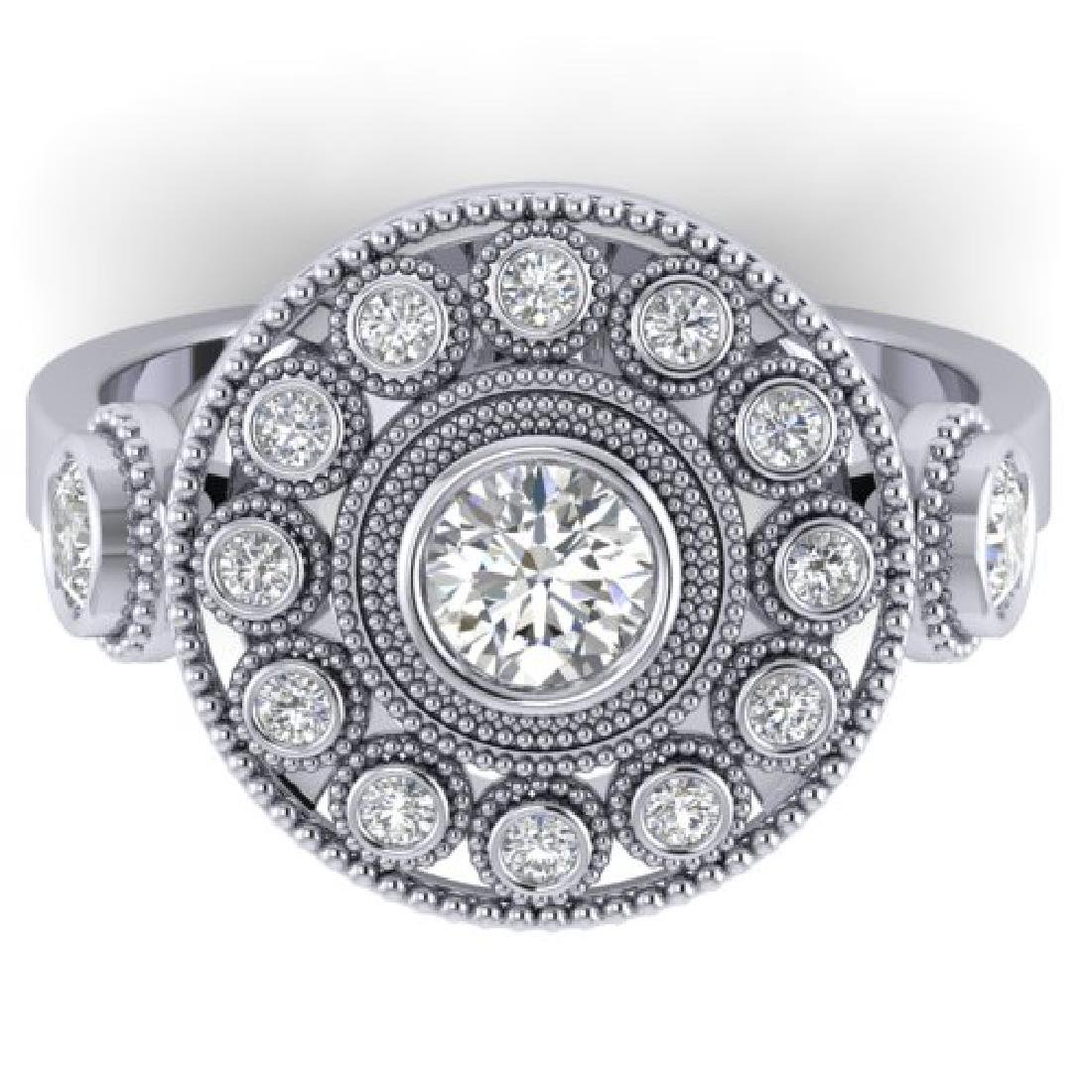 0.85 CTW Certified VS/SI Diamond Art Deco 3 Stone Ring