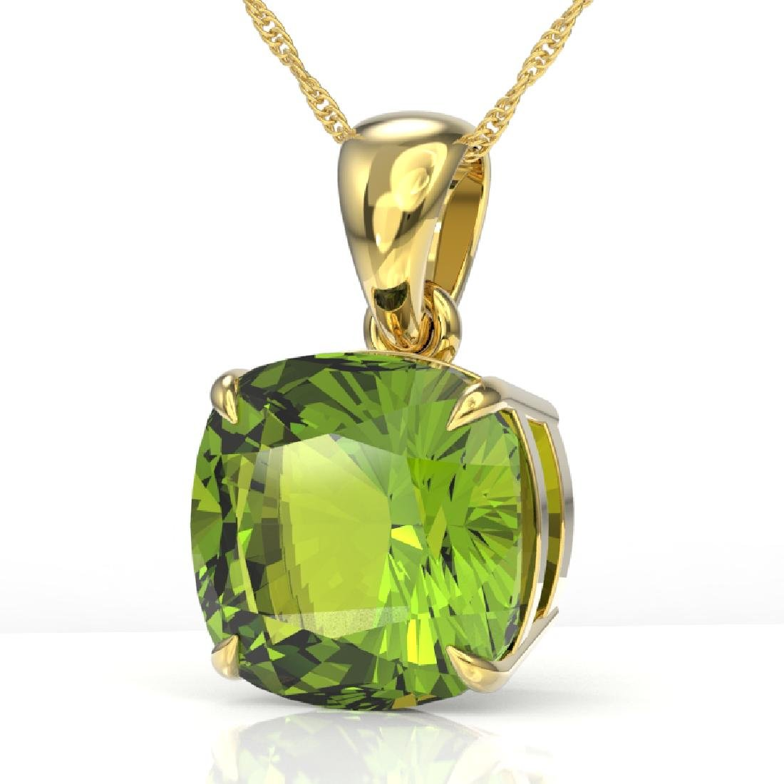 6 CTW Cushion Cut Peridot Designer Solitaire Necklace