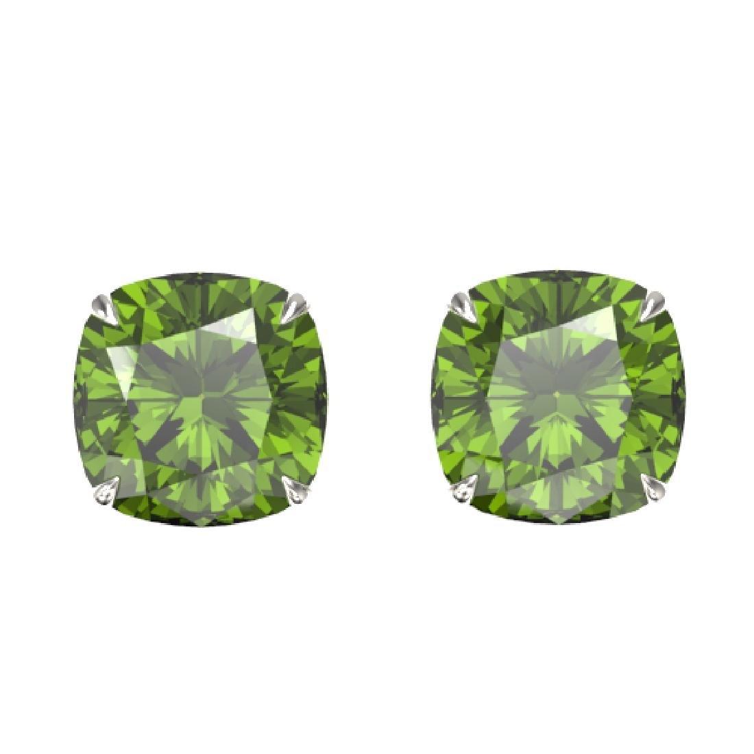 12 CTW Cushion Cut Green Tourmaline Designer Stud