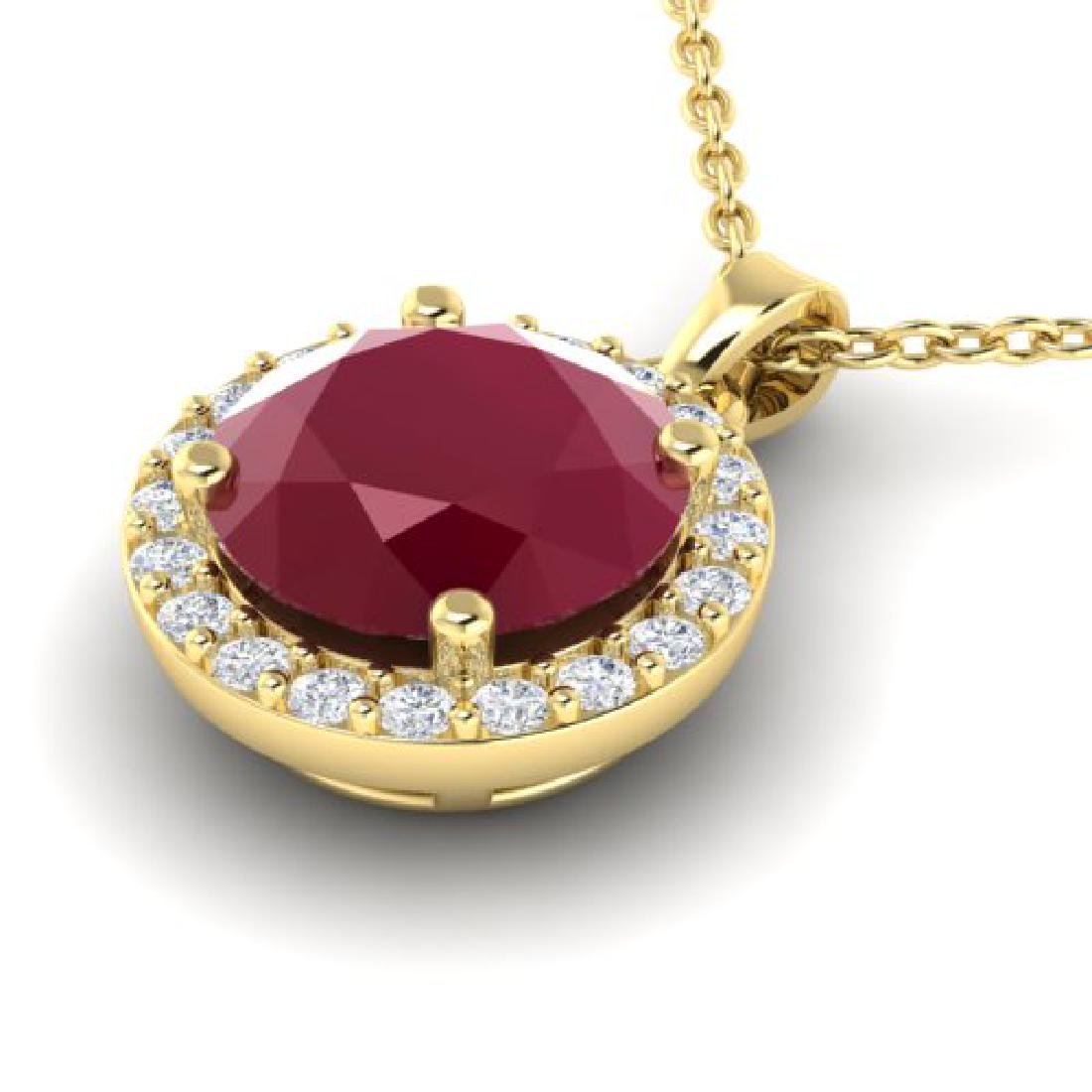 2 CTW Ruby & Halo VS/SI Diamond Micro Pave Necklace