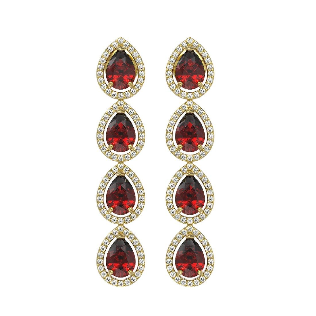 8.2 CTW Garnet & Diamond Halo Earrings 10K Yellow Gold