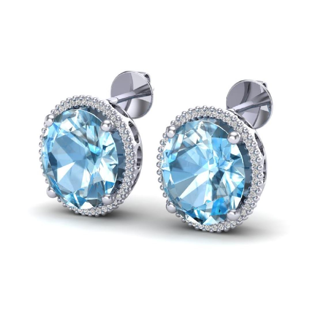 25 CTW Sky Blue Topaz & Micro VS/SI Diamond Halo