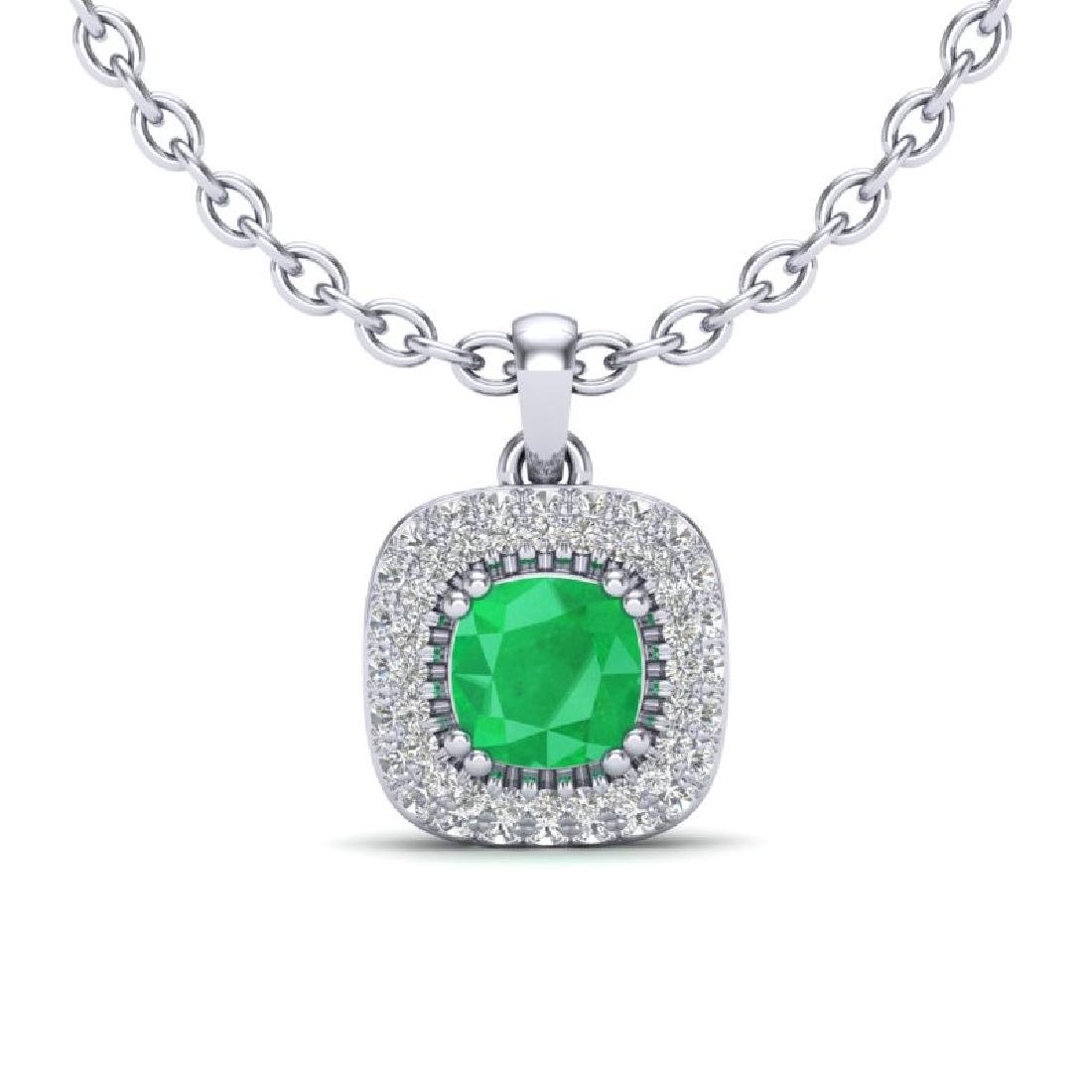 1.08 CTW Emerald & Micro VS/SI Diamond Necklace Halo