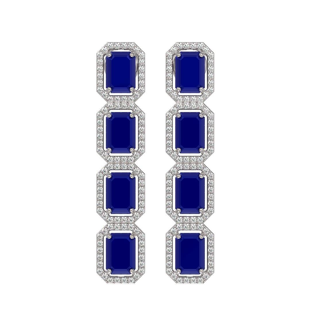12.33 CTW Sapphire & Diamond Halo Earrings 10K White