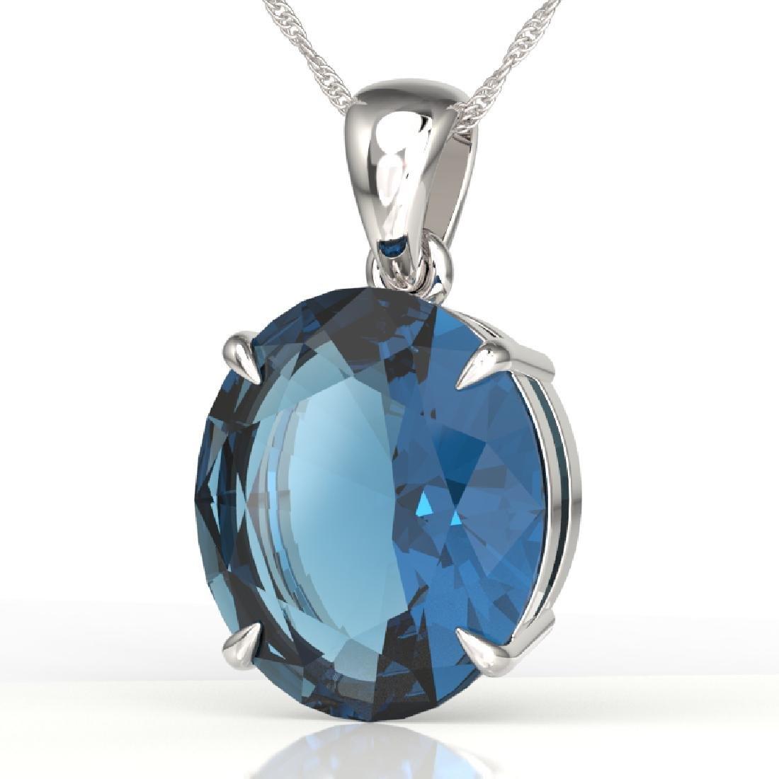 9 CTW London Blue Topaz Designer Solitaire Necklace 18K