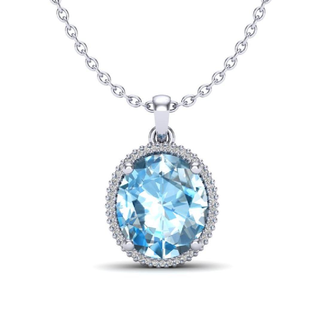 12 CTW Sky Blue Topaz & Micro VS/SI Diamond Halo