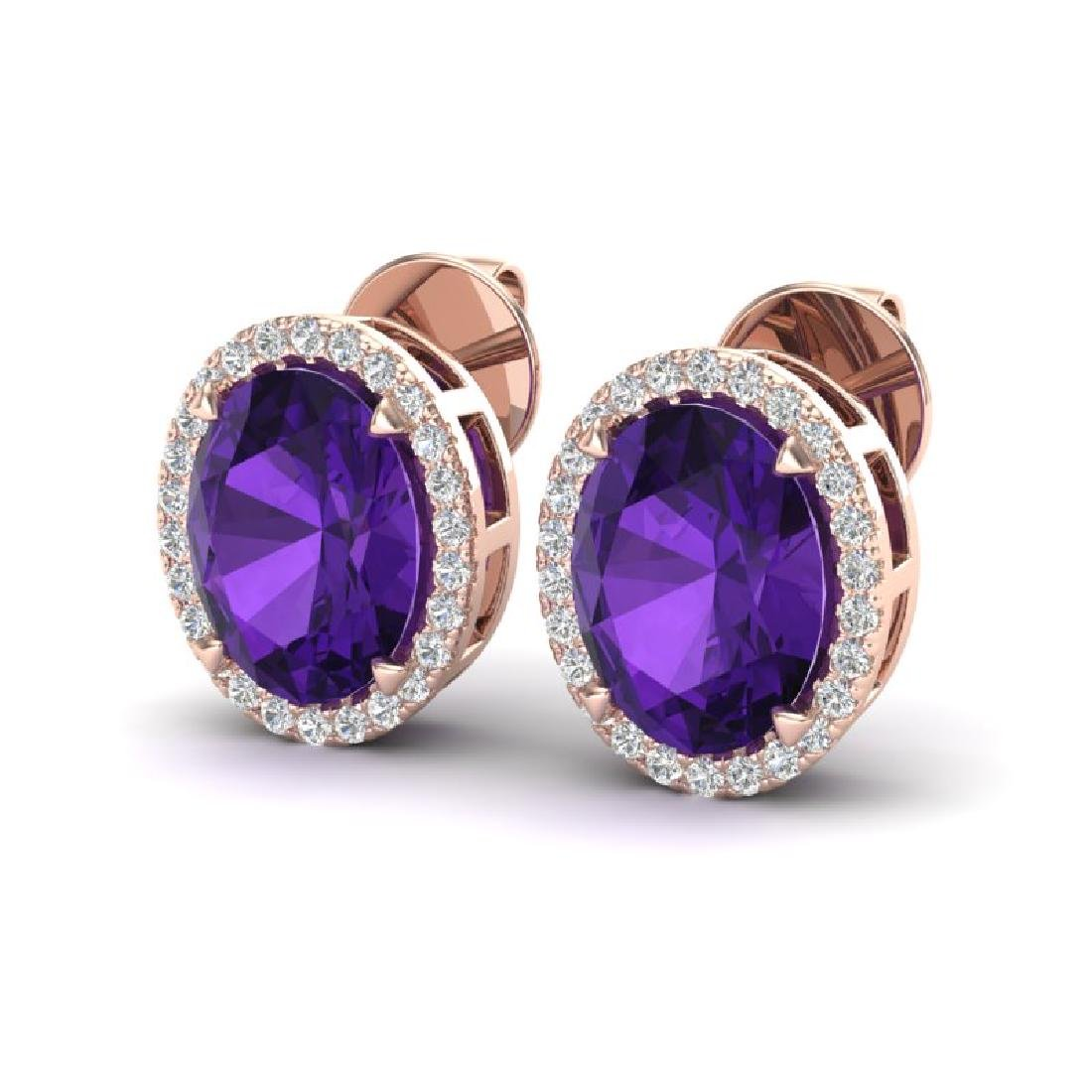 5.50 CTW Amethyst & Micro VS/SI Diamond Halo Earrings