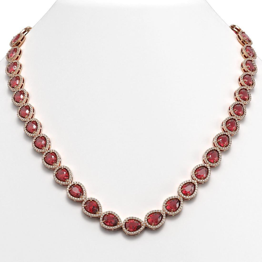 35.13 CTW Tourmaline & Diamond Halo Necklace 10K Rose