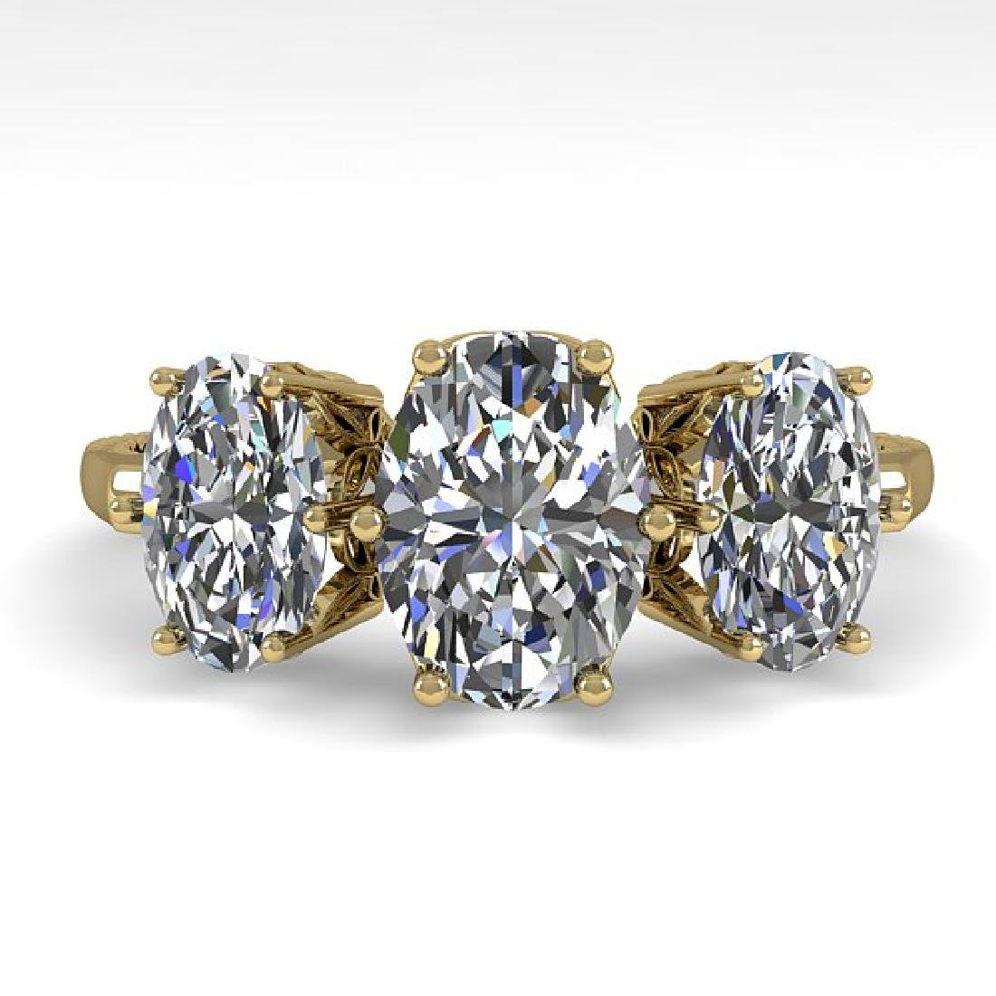 2.0 CTW VS/SI Oval Diamond Art Deco Ring 14K Yellow