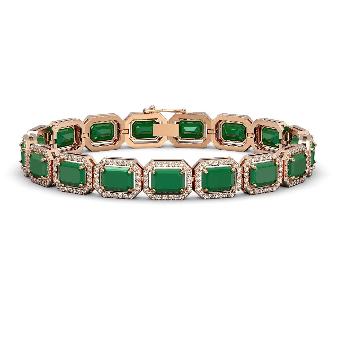26.21 CTW Emerald & Diamond Halo Bracelet 10K Rose Gold