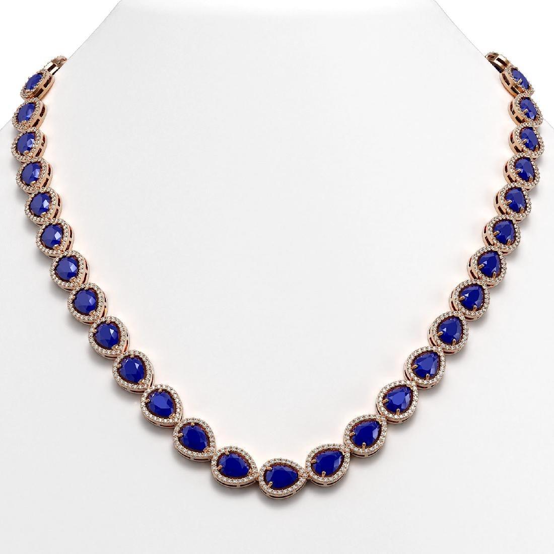 45.93 CTW Sapphire & Diamond Halo Necklace 10K Rose