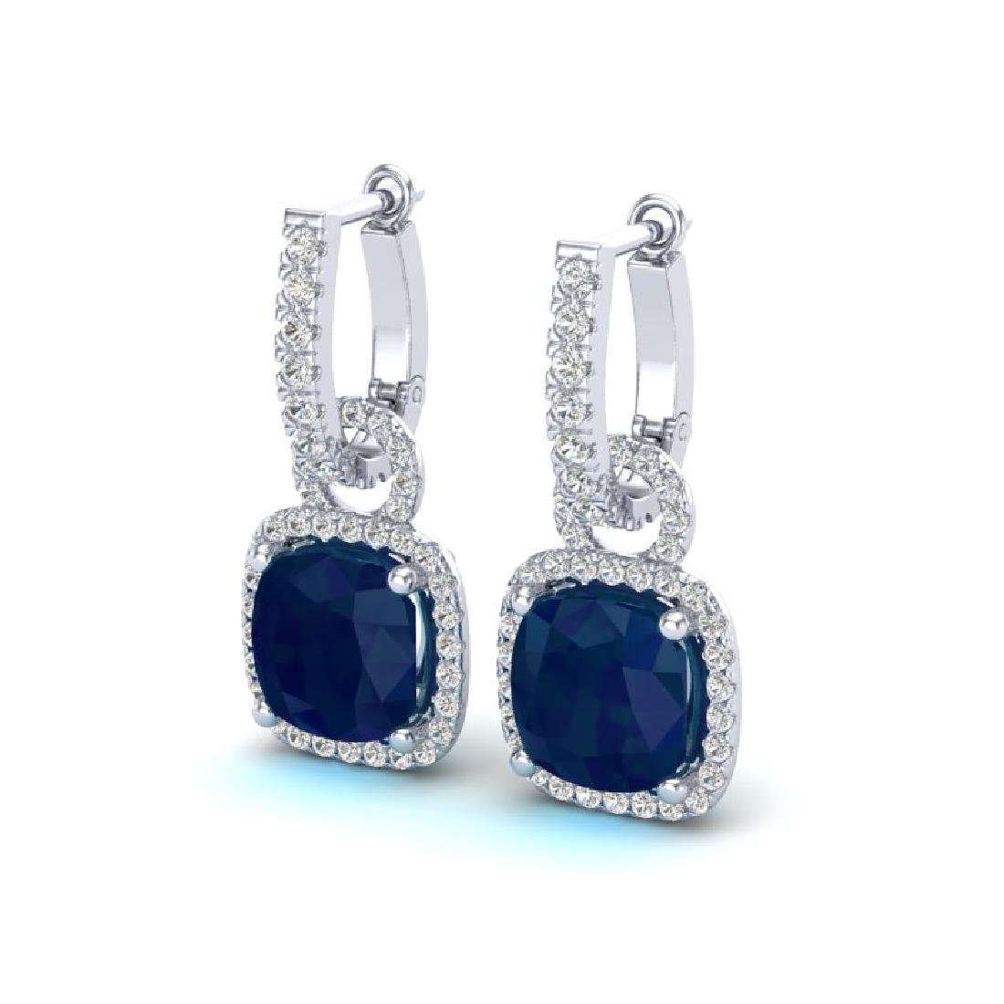 6 CTW Sapphire & Micro Pave VS/SI Diamond Earrings 18K