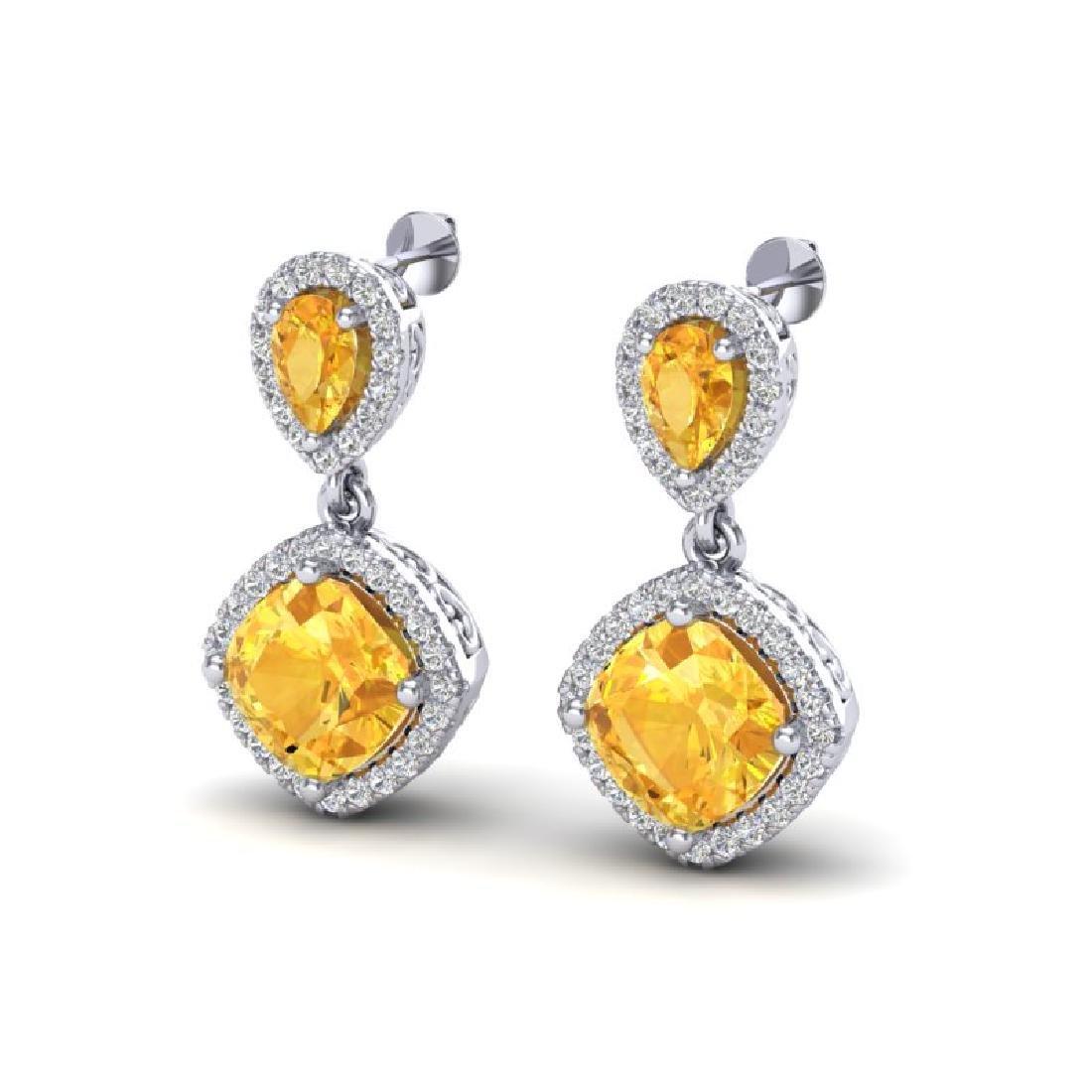 5 CTW Citrine & Micro Pave VS/SI Diamond Earrings