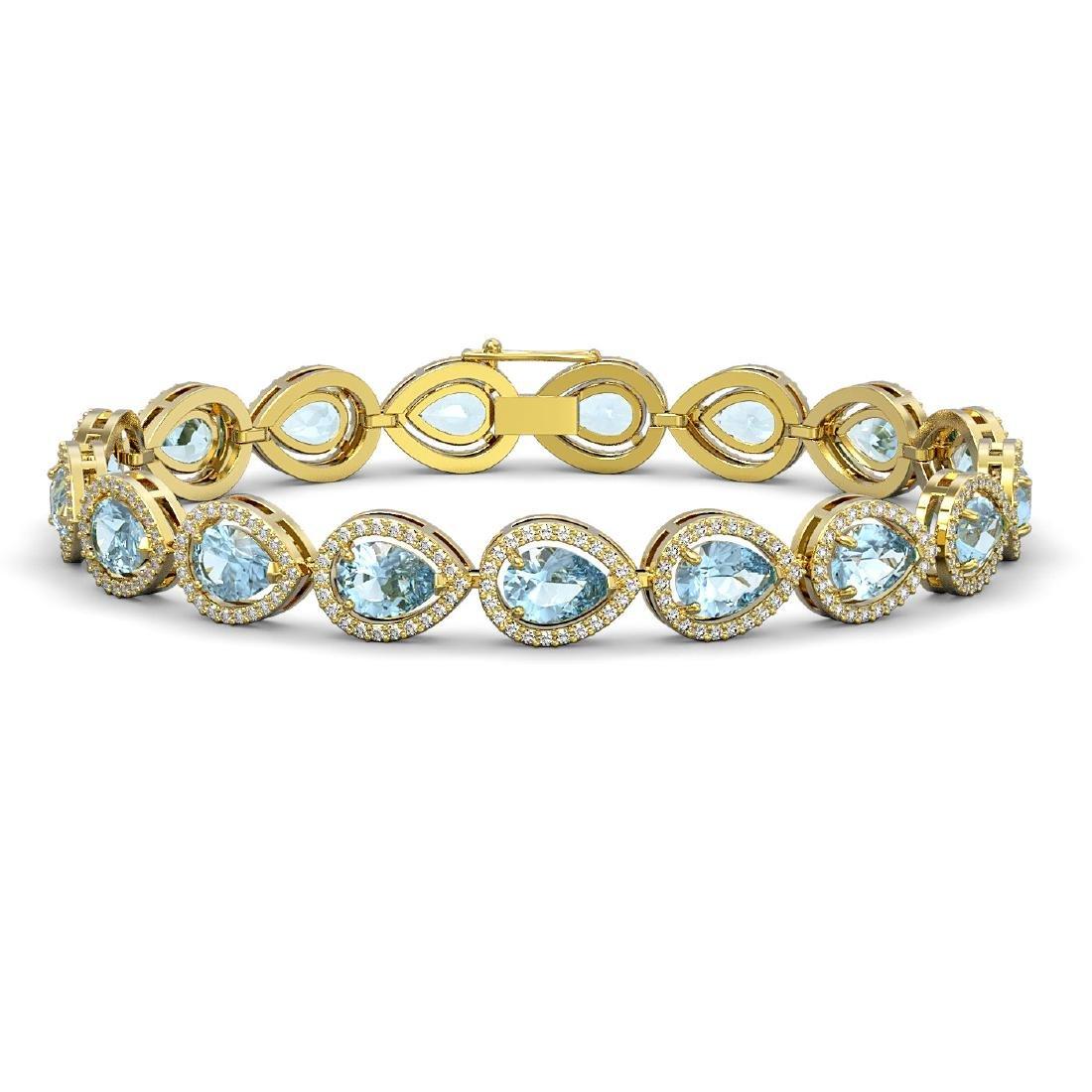 15.74 CTW Aquamarine & Diamond Halo Bracelet 10K Yellow