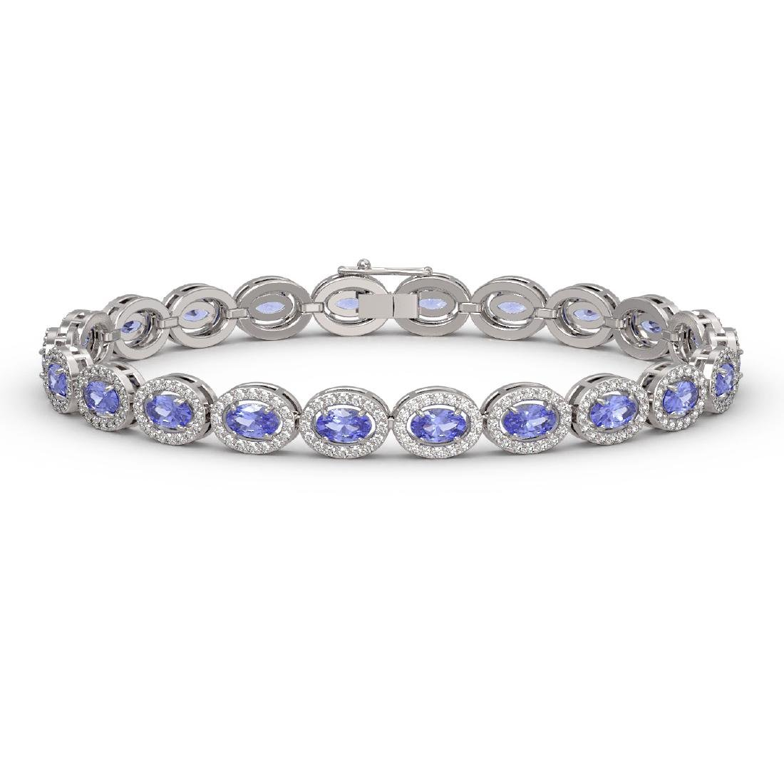 10.04 CTW Tanzanite & Diamond Halo Bracelet 10K White