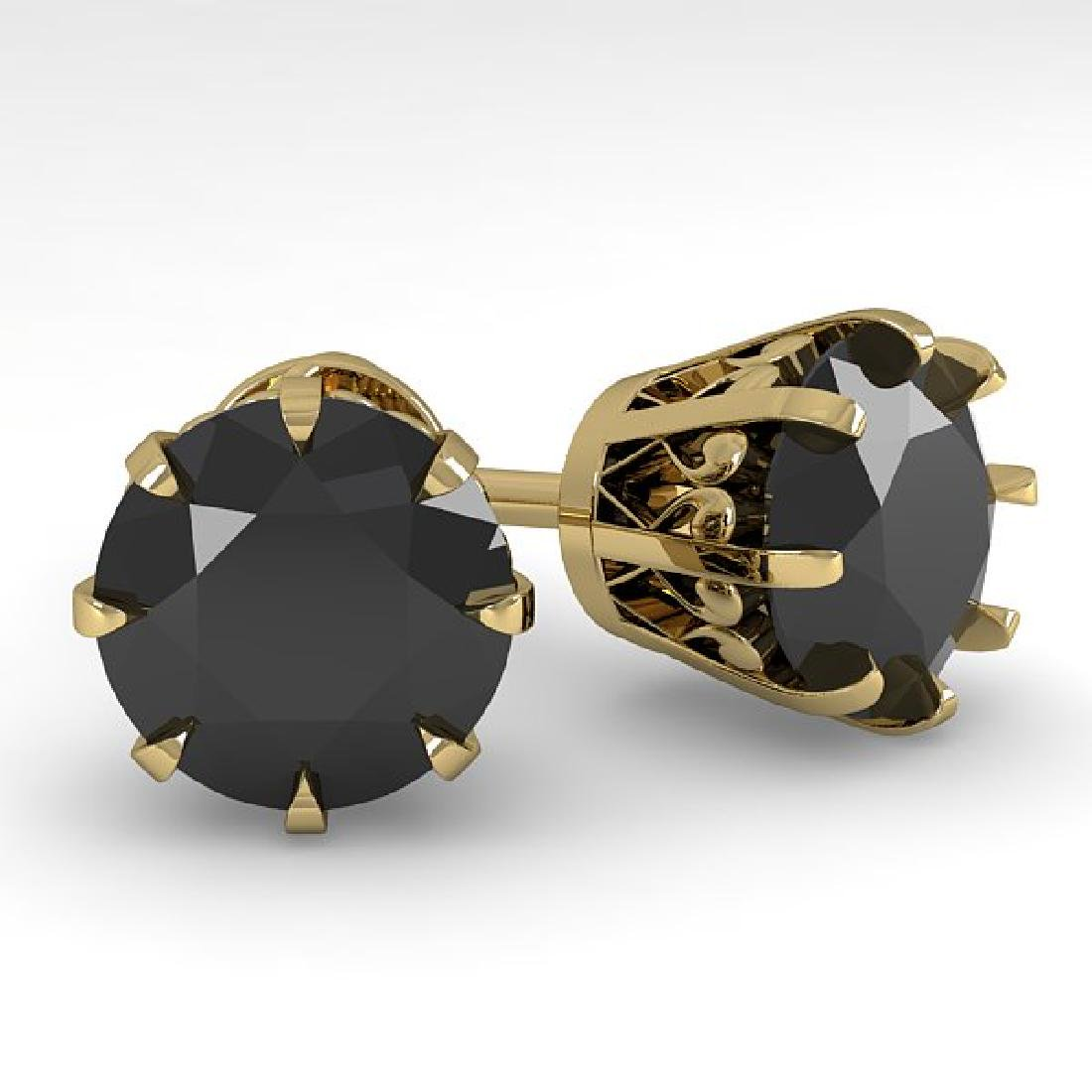 4.0 CTW Black Diamond Stud Solitaire Earrings 14K