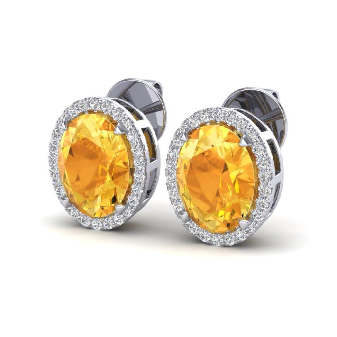5.50 CTW Citrine & Micro VS/SI Diamond Halo Earrings