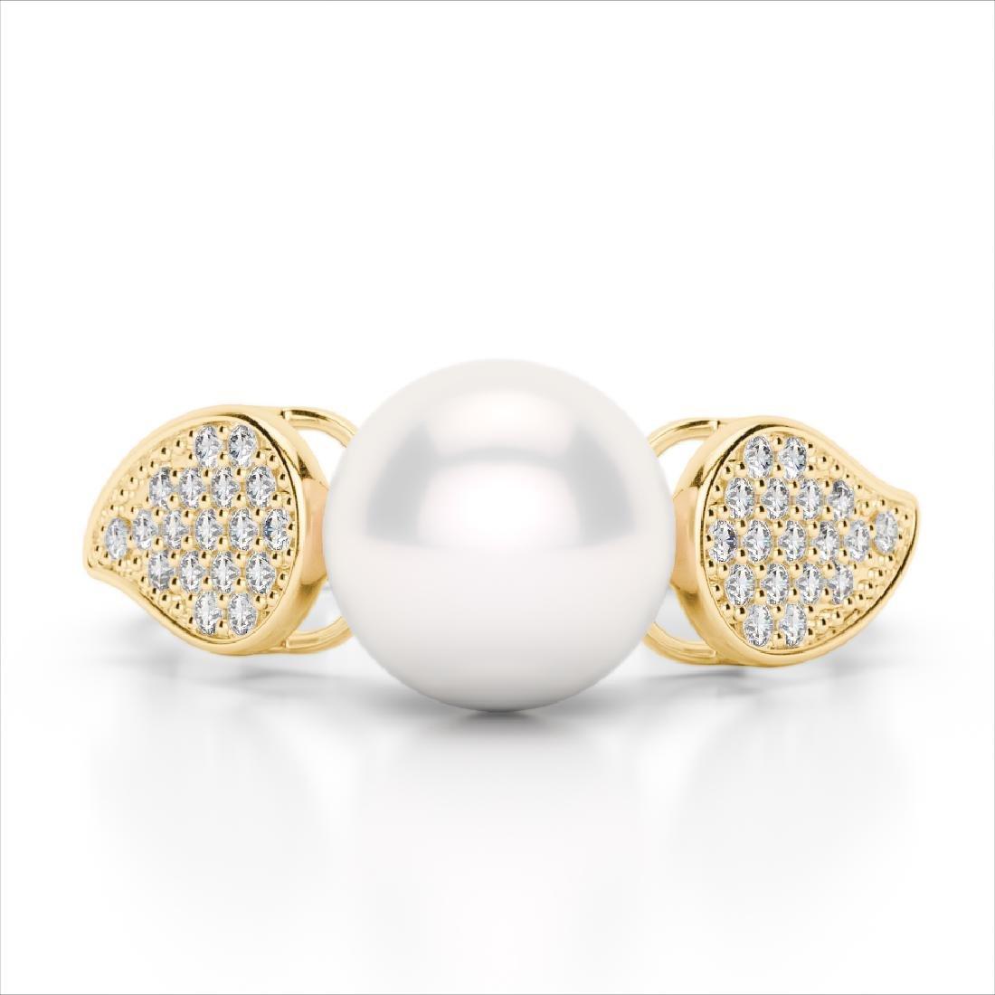 0.27 CTW Micro Pave VS/SI Diamond & Pearl Designer Ring