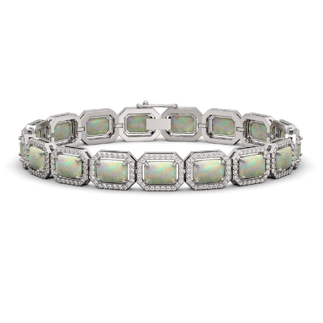 16.86 CTW Opal & Diamond Halo Bracelet 10K White Gold