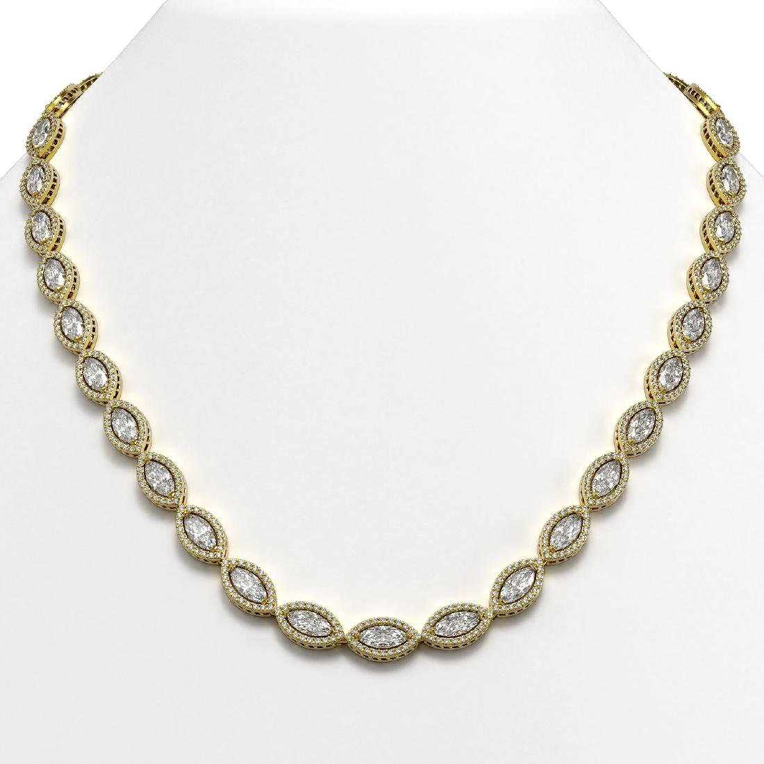 24.42 CTW Marquise Diamond Designer Necklace 18K Yellow