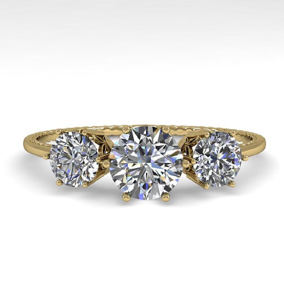 1 CTW Certified VS/SI Diamond Art Deco Ring 14K Yellow