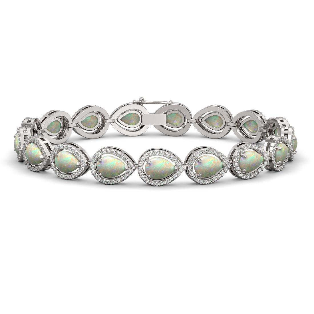 13.19 CTW Opal & Diamond Halo Bracelet 10K White Gold
