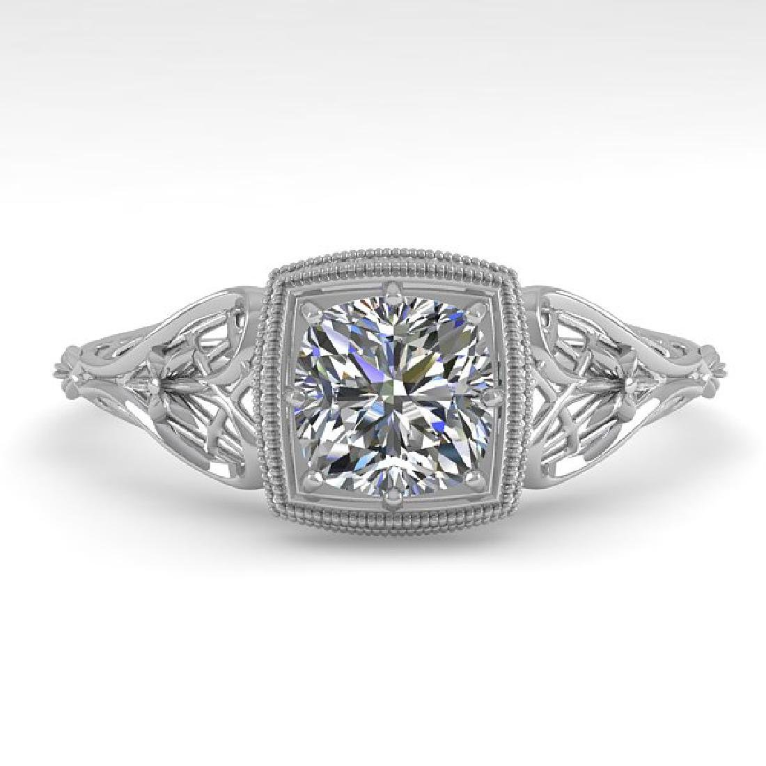 0.50 CTW Certified VS/SI Cushion Diamond Ring Art Deco