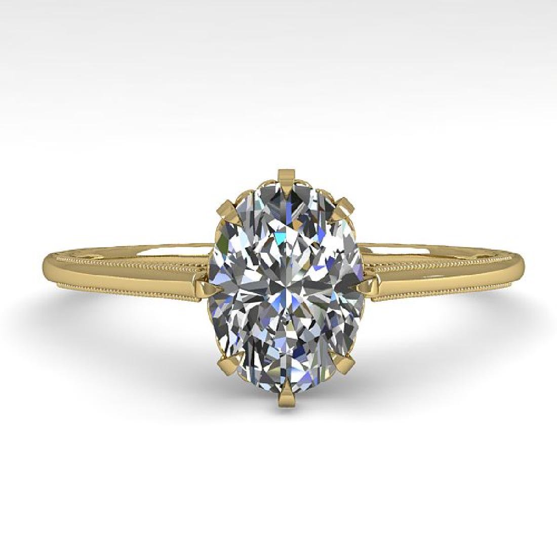 1.0 CTW VS/SI Oval Diamond Solitaire Ring 14K Yellow