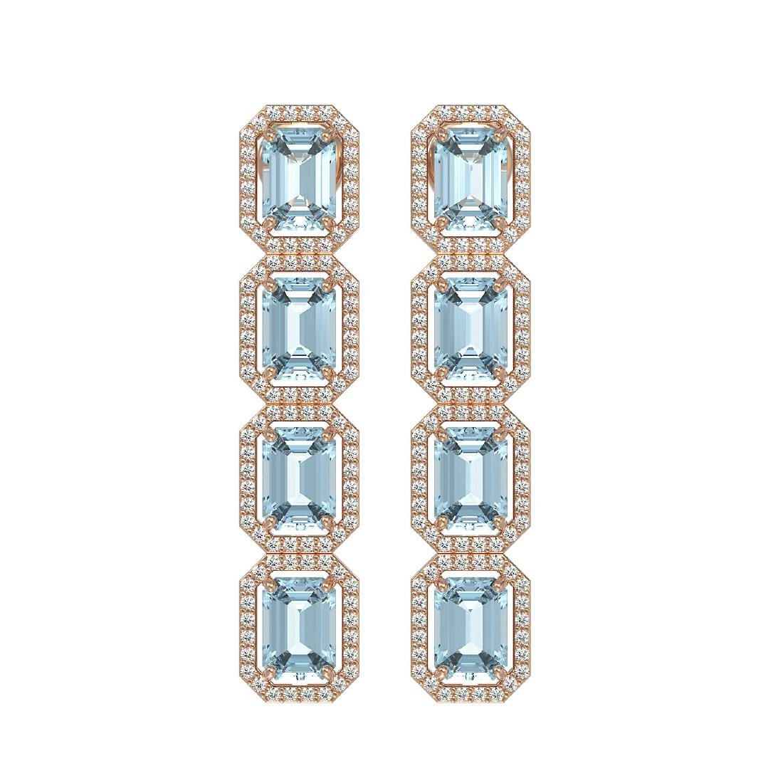 11.13 CTW Sky Topaz & Diamond Halo Earrings 10K Rose