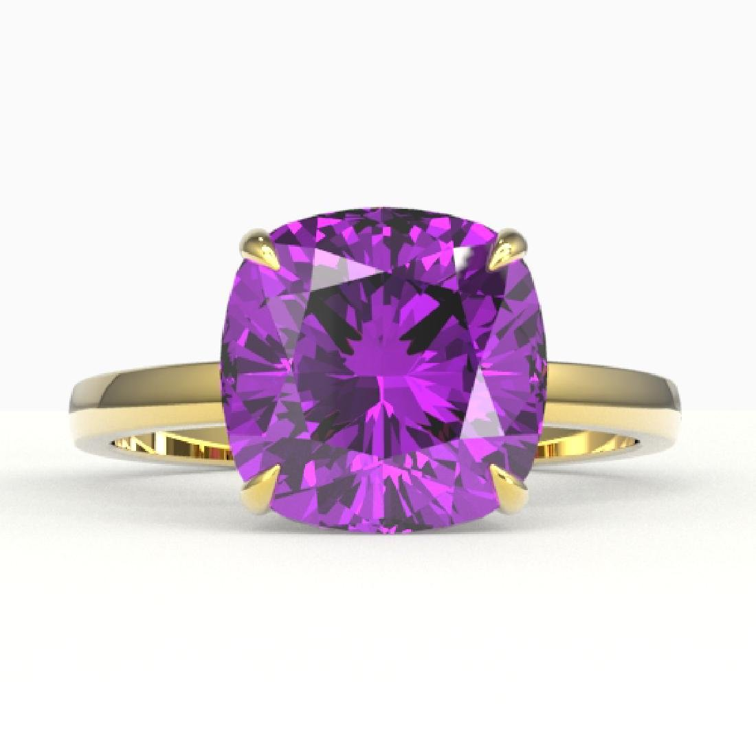 6 CTW Cushion Cut Amethyst Designer Solitaire