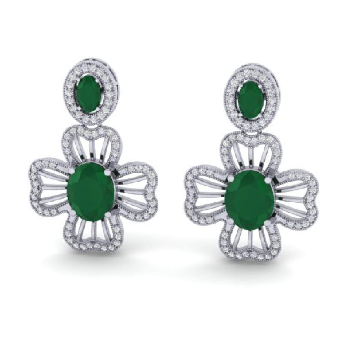 9.26 CTW Emerald & Micro Pave VS/SI Diamond Earrings