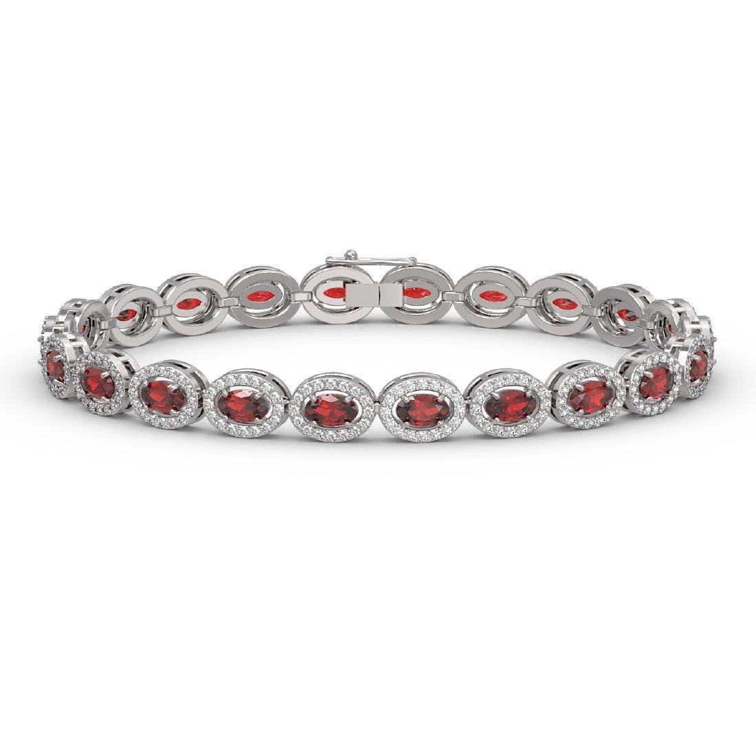 10.11 CTW Garnet & Diamond Halo Bracelet 10K White Gold