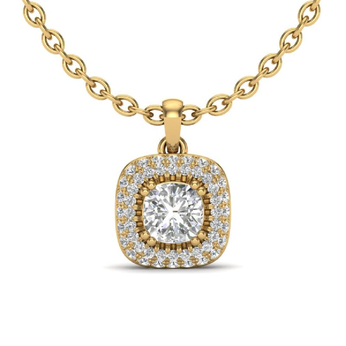 1.08 CTW Micro VS/SI Cushion Diamond Necklace Solitaire