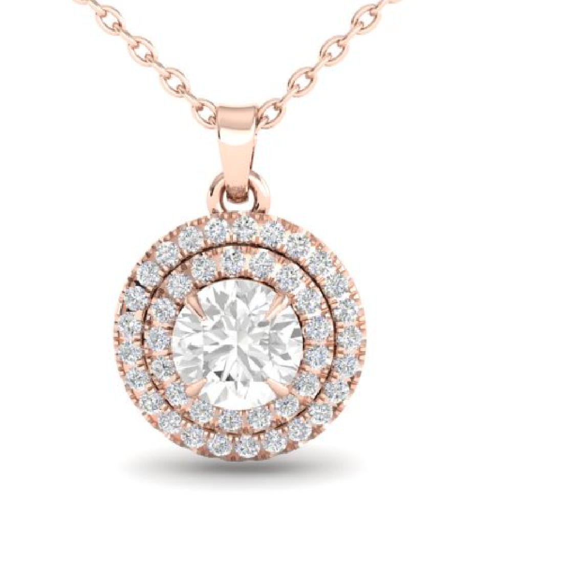 1 CTW Micro Pave VS/SI Diamond Solitaire Necklace Halo