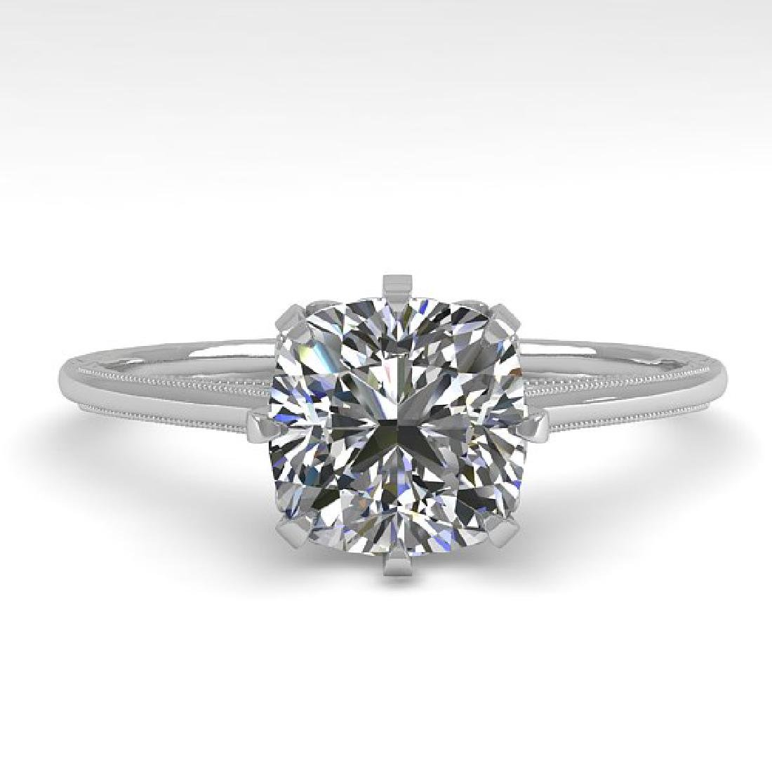 1.0 CTW Certified VS/SI Cushion Diamond Ring 14K White