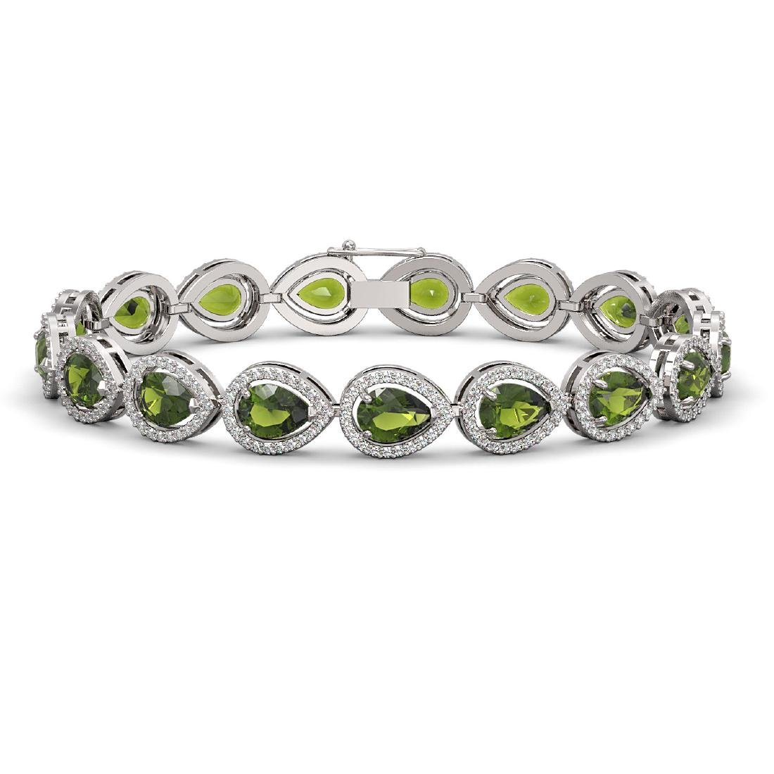 16.93 CTW Tourmaline & Diamond Halo Bracelet 10K White
