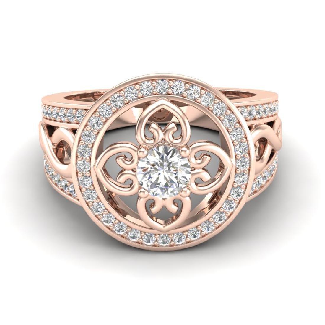 1CTW VS/SI Diamond Micro Pave Designer Ring 14K Rose