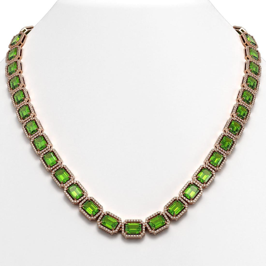 57.3 CTW Peridot & Diamond Halo Necklace 10K Rose Gold