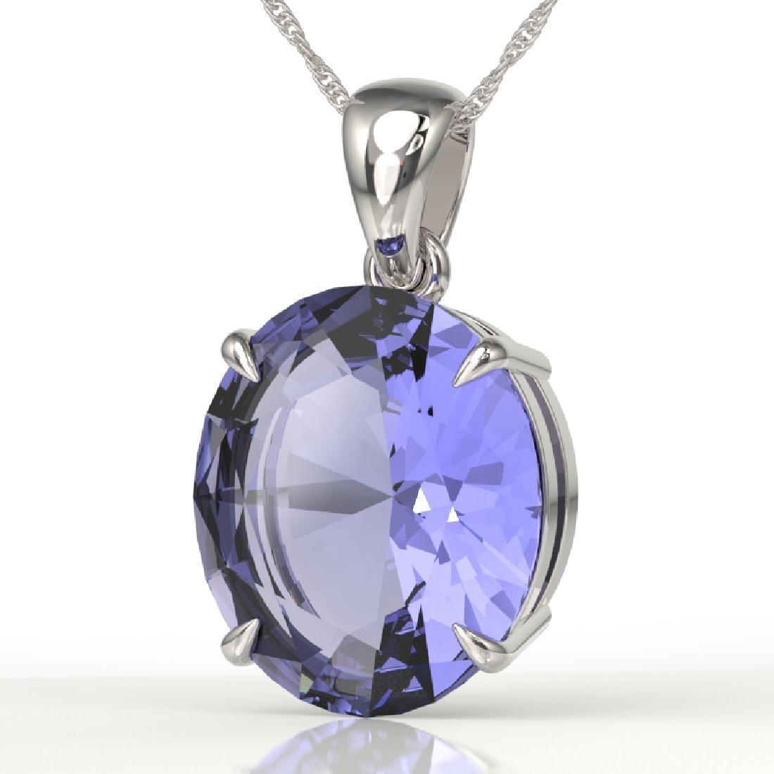 9 CTW Tanzanite Designer Solitaire Necklace 18K White