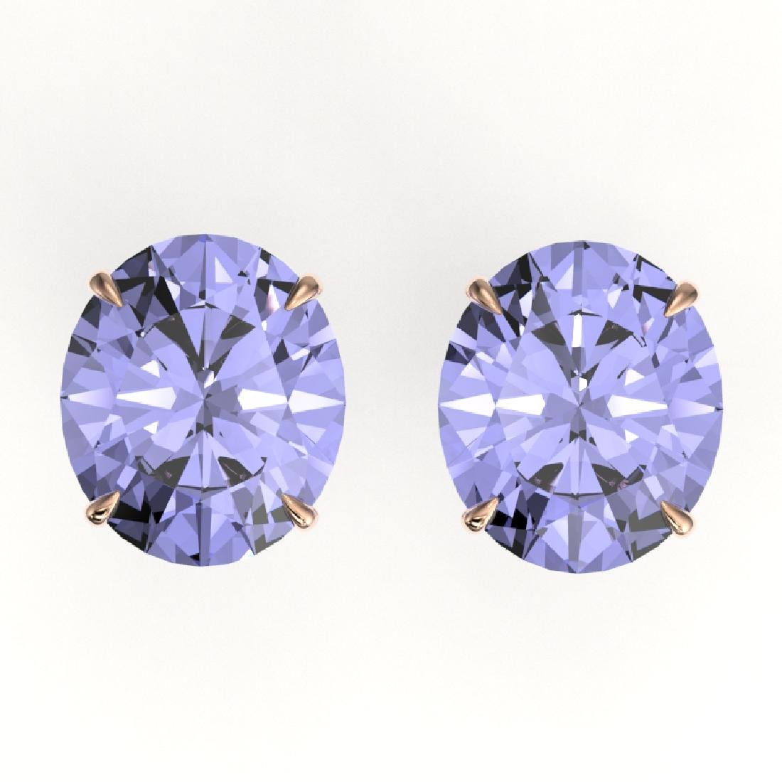 18 CTW Tanzanite Designer Solitaire Stud Earrings 14K