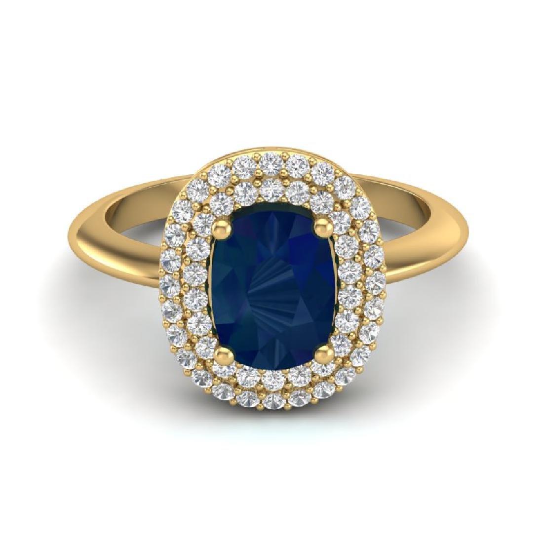 2.50 CTW Sapphire With Micro VS/SI Diamond Ring Halo
