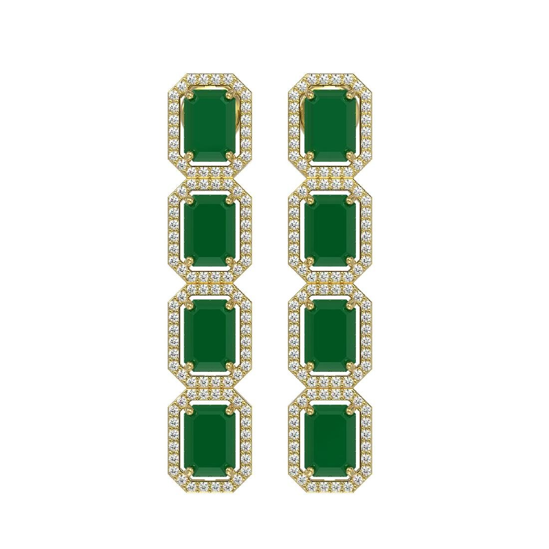 12.33 CTW Emerald & Diamond Halo Earrings 10K Yellow
