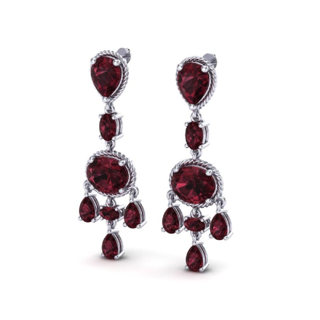 16 CTW Garnet Earrings Designer Vintage 10K White Gold