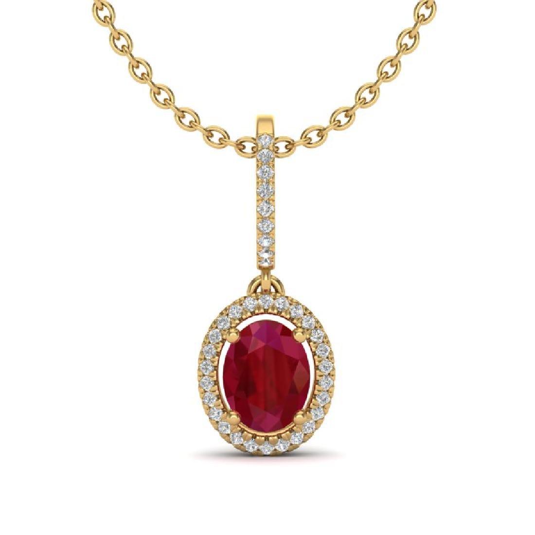2 CTW Ruby & Micro Pave VS/SI Diamond Necklace