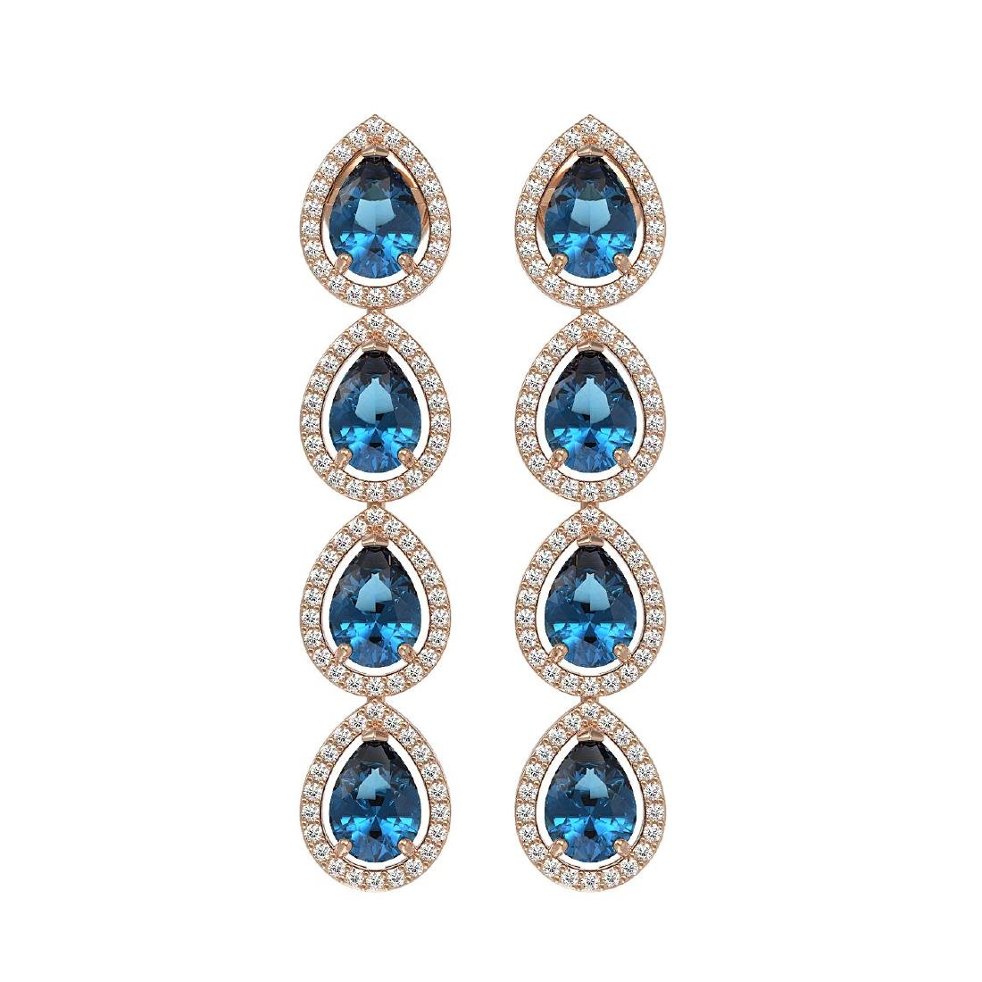 7.81 CTW London Topaz & Diamond Halo Earrings 10K Rose