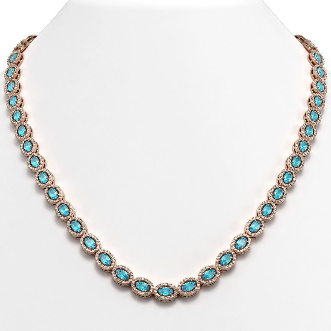 24.07 CTW Swiss Topaz & Diamond Halo Necklace 10K Rose
