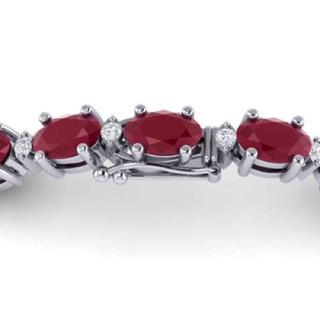 15 CTW Ruby & VS/SI Diamond Eternity Bracelet 10K White